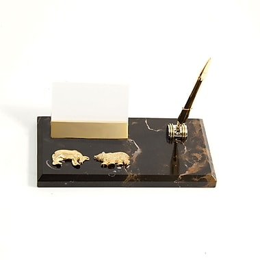 Bey-Berk Gold Plated Memo Pad Holder, Stock Market