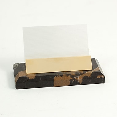Bey-Berk Gold Plated Business Card Holder, Black and Tan