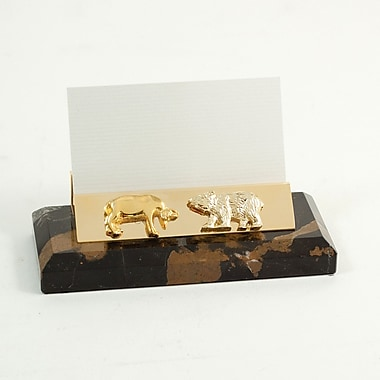 Bey-Berk Gold Plated Business Card Holder, Stock Market