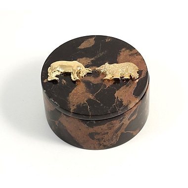 Bey-Berk Round Box With Gold Plated Accents, Stock Market