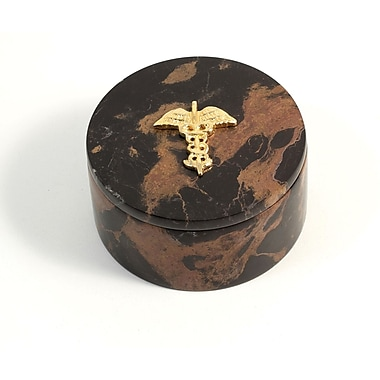 Bey-Berk Round Box With Gold Plated Accents, Medical