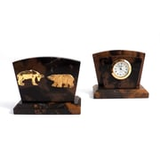 Bey-Berk Clock/ Letter  Rack With Gold Plated Accents, Stock Market