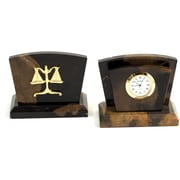 Bey-Berk Clock/ Letter  Rack With Gold Plated Accents, Legal