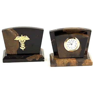Bey-Berk Clock/ Letter Rack With Gold Plated Accents, Medical