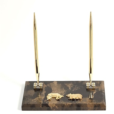 Bey-Berk Gold Plated Double Pen Stand With 2 Pens, Stock Market