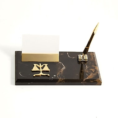 Bey-Berk Gold Plated  Business Card Holder With Pen, Legal