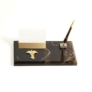 Bey-Berk Gold Plated  Business Card Holder With Pen, Medical