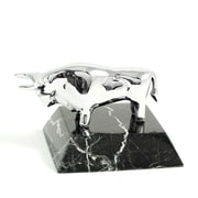 Bey-Berk Chrome Plated  Zebra Marble Base Bull Paperweight