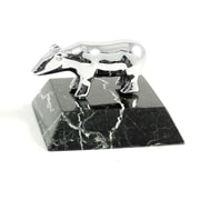 Bey-Berk Chrome Plated  Black Zebra Marble Base Bear Paperweight