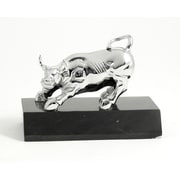 Bey-Berk Bull Sculpture,  Chrome Plated, Black Marble Base