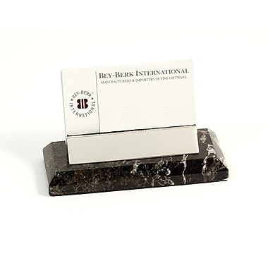 Bey-Berk Business Card  Holder, Black Zebra Marble With Chrome Plated