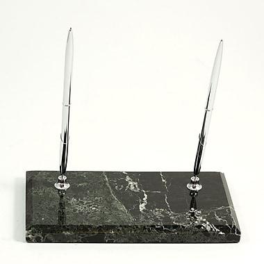 Bey-Berk Double Pen  Stand, Black Zebra Marble