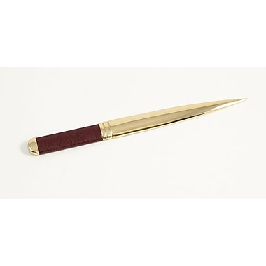 Bey-Berk Leather Letter  Opener With Gold Plated Accents, Tan