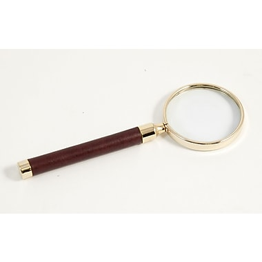 Bey-Berk Magnifier With Gold Plated Accents, Tan Leather
