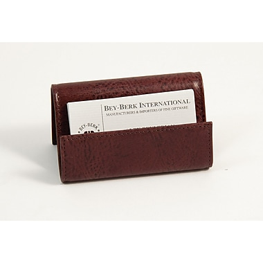 Bey-Berk Leather Business Card Holder, Tan