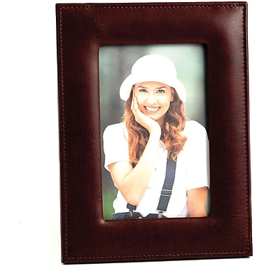 Bey-Berk Tan Leather  Picture Frame With Easel Back, 4in. x 6in.