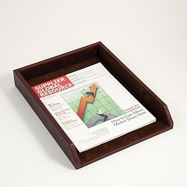 Bey-Berk Letter Tray,  Tan Leather 10 1/2in.(L) x 13 3/4in.(W) x 2 1/4in.(H)