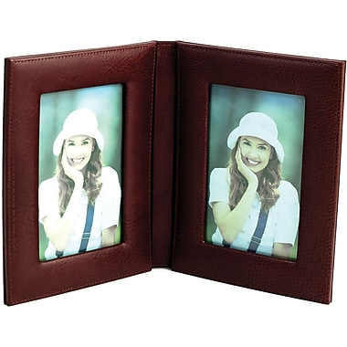 Bey-Berk Tan Leather  Double Picture Frame, 4in. x 6in.