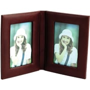 "Bey-Berk Tan Leather  Double Picture Frame, 4"" x 6"""