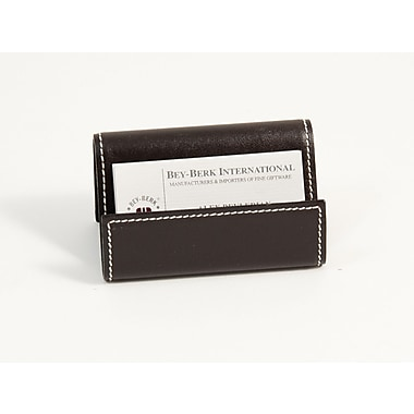 Bey-Berk Leather Business Card Holder, Coco Brown
