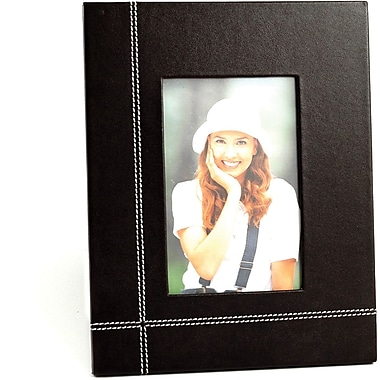 Bey-Berk Coco Brown  Leather Picture Frame With Easel Back, 4in. x 6in.