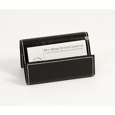 Bey-Berk Leather Business Card Holder, Black