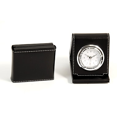 Bey-Berk Leather Foldable  Quartz Alarm Clock With Chrome Accents, Black