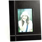 "Bey-Berk Black Leather  Picture Frame With Easel Back, 4"" x 6"""