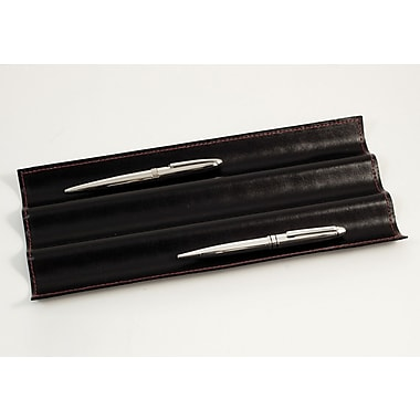 Bey-Berk Pen Tray  With Red Stitching, Black Leather