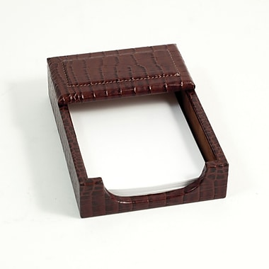 Bey-Berk Croco Leather  Memo Holder, 4in.(L) x 6in.(W), Brown