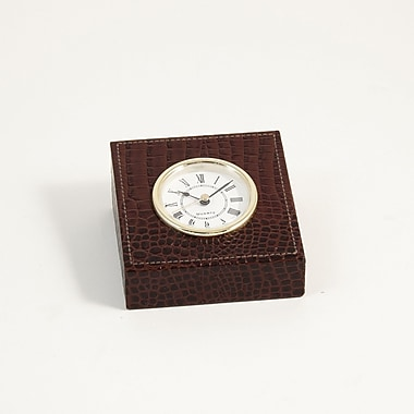 Bey-Berk Leather Quartz  Clock With Gold Plated Accents, Brown Croco