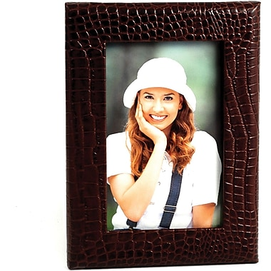 Bey-Berk Brown Croco Debossed Leather Picture Frame With Easel Back, 4
