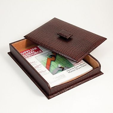 Bey-Berk Debossed Croco Leather Letter Tray With Cover, 10 1/2