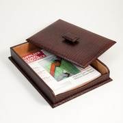 "Bey-Berk Debossed Croco Leather Letter Tray With Cover, 10 1/2""(L) x 13 3/4""(W) x 2 1/4""(H), Brown"