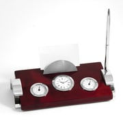 Bey-Berk Weather Station  With Clock, Card Holder and Pen