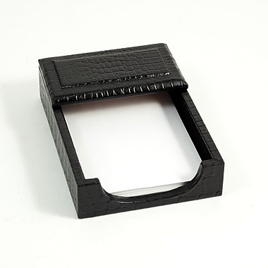 Bey-Berk Croco Leather  Memo Holder, 4in.(L) x 6in.(W), Black