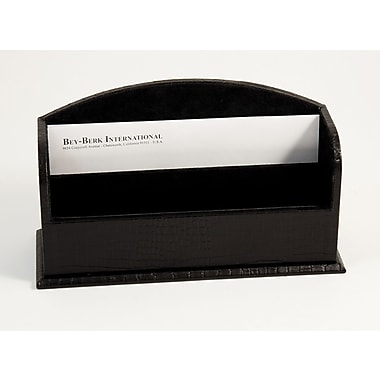 Bey-Berk Croco Debossed Leather 2 Section Letter Rack, Black