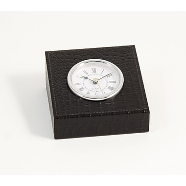 Bey-Berk Leather Quartz  Clock With Gold Plated Accents, Black Croco