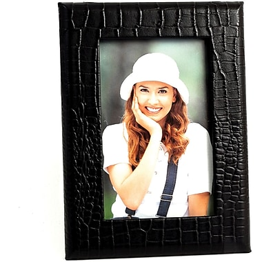 Bey-Berk Black Croco Debossed Leather Picture Frame With Easel Back, 4