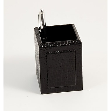 Bey-Berk Leather Pencil  Box, Black Croco
