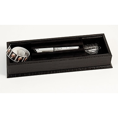 Bey-Berk Croco Debossed Leather Stationery Box, Black