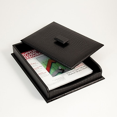 Bey-Berk Letter Tray  With Cover, 10 1/2in.(L) x 13 3/4in.(W) x 2 1/4in.(H), Black