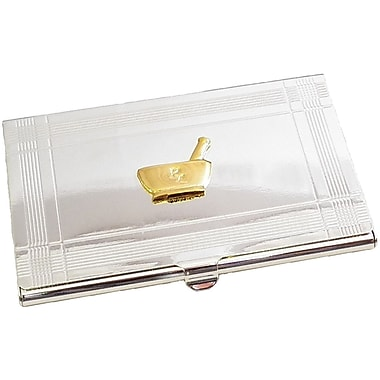 Bey-Berk Pharmacy Business  Card Case, Silver Plated