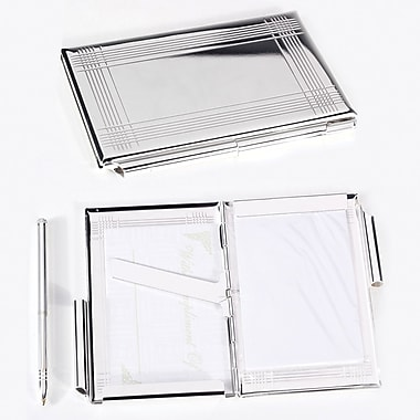 Bey-Berk Business Card  Holder/Note Holder, Silver Plated