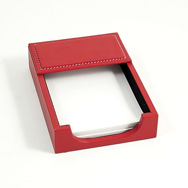 Bey-Berk Leather Memo  Holder, 4in.(L) x 6in.(W), Red