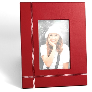 Bey-Berk Red Leather  Picture Frame With Easel Back, 4in. x 6in.