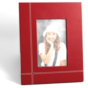 "Bey-Berk Red Leather  Picture Frame With Easel Back, 4"" x 6"""