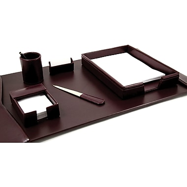 Bey-Berk 6 Piece  Leather Desk Set With Gold Plated Accent, Burgundy
