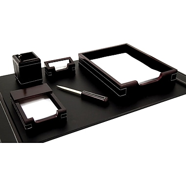 Bey-Berk 6 Piece  Leather Desk Set With Gold Plated Accent, Cherry Wood and Black