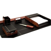 Bey-Berk 6 Piece  Leather Desk Set With Gold Plated Accent, Burl Wood and Black